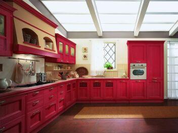 """Кухня бордово-красная """"Rosso Scorcio"""""""